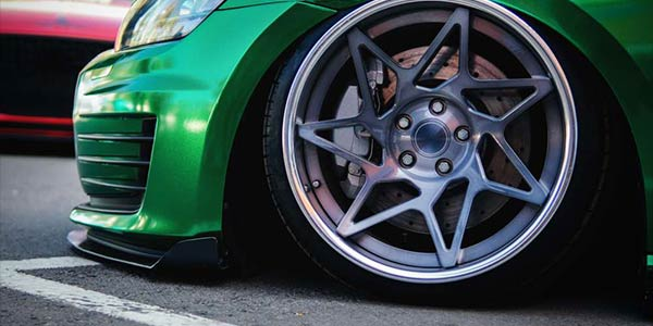 front wheel of modified car