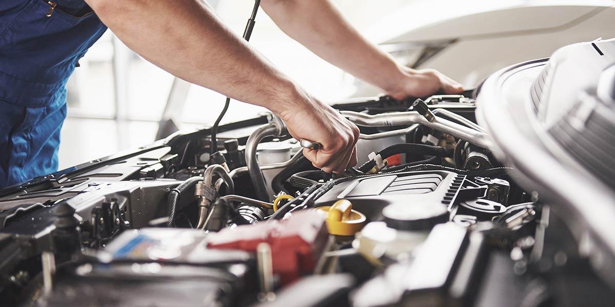 mechanical working on a car engine