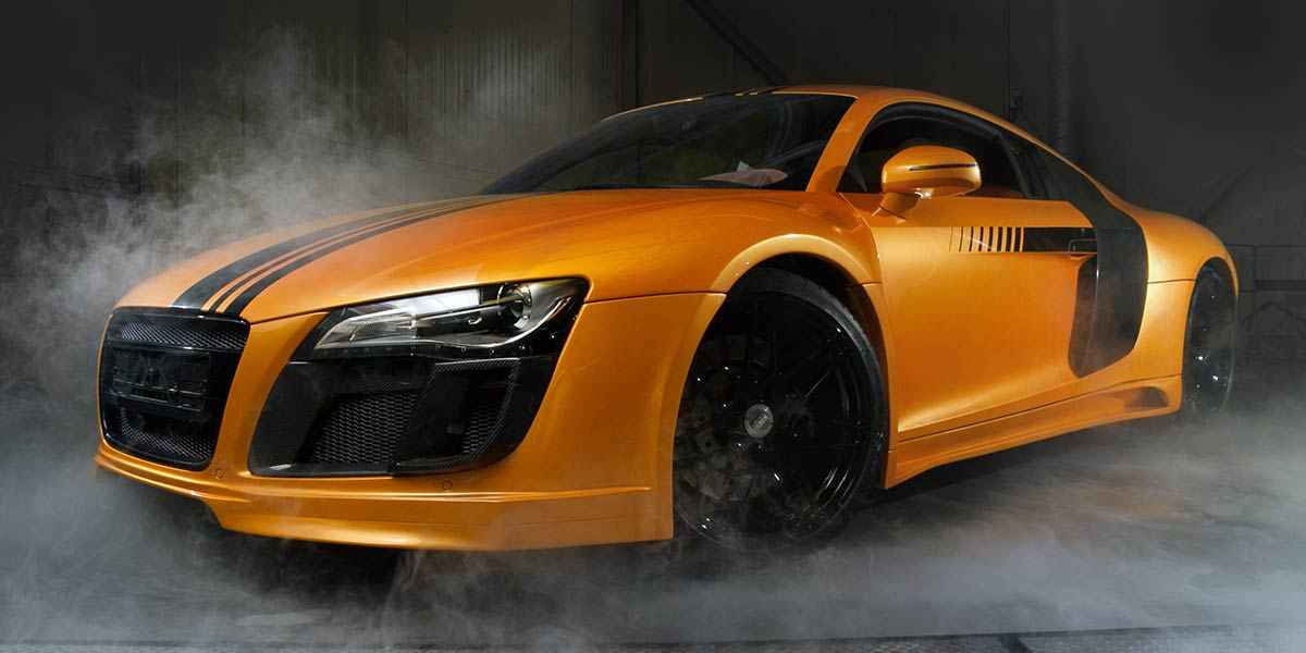 modified car with smoke