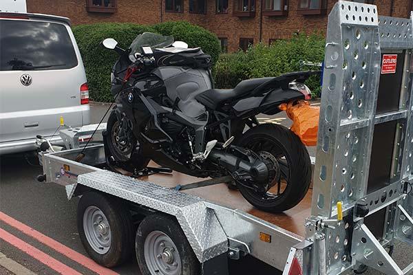 Motorbike on our transportation trailer