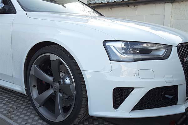 White Audi on our trailer